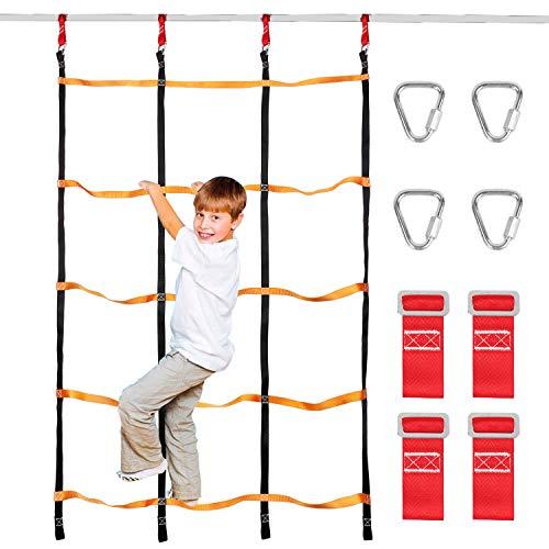 Odoland Red de Escalada para Niños 3.9 x 6.6 pies / 120 x 200 cm, Escalera de Cuerda para Niños al Aire Libre con 4 Hebillas Cuadradas y 4 Anillos de Delt