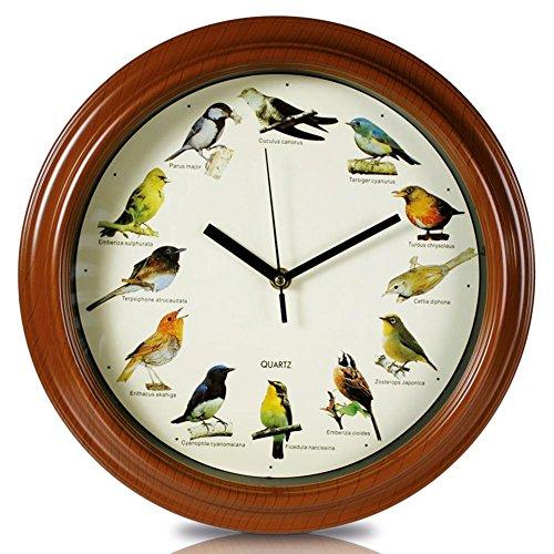 HC-Handel 912109 Wanduhr Uhr Vogelwelt mit Vogelstimmen 33 cm braun