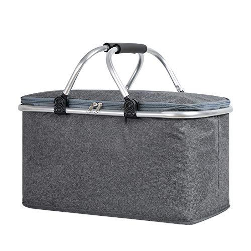 Picknickmanden 4 Persoons 22L Grote Capaciteit Draagbaar Inklapbaar Geïsoleerd Winkelmandje Brengt Uw Gezin Een Heerlijk Weekendje Weg,Grey-42 * 23 * 23cm
