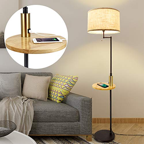 DLLT Living Room LED Floor Lamp- Standing Accent Light with USB Charging Port, Energy Saving, Tall Pole Lighting with Beside Table, Mid Century Contemporary Rooms Lamps, E26 Warm Lights,Fabric Shade…