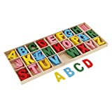 MagiDeal 156 Pièces Alphabet en Bois Lettres avec Boîte De Rangement Plateau Enfants Jouets Éducatifs