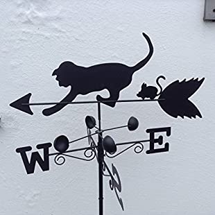 Olive Grove Weathervane - CAT & MOUSE steel weathervane with ground spike and wall fixing.:Viralinfo