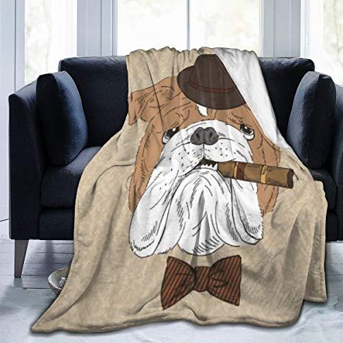 SHENGLIPINK Manta de Microfibra Ultra Suave,Retrato, de, Bulldog inglés, cigarro, Animal, Caricatura, Vendimia,Decoración para el hogar,cálida Manta para sofá Cama,60'X50'