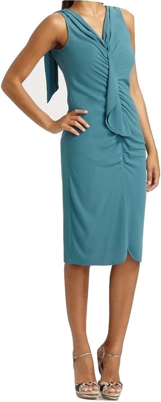 Elie Tahari Avelon Sleeveless Matte Crepe Ruffled Dress, Mountain Stream, 6