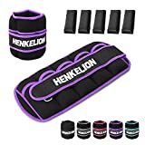 Henkelion 1 Pair 5 Lbs Adjustable Ankle Weights for Women Men Kids with Metal Loop, Strength Training Wrist and Ankle Weights Set for Gym, Fitness Workout, Exercise Leg Weights - Each 5 Lbs Purple