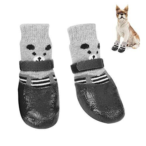 1 Paar Haustier Hund Schuhe, Rutschfeste Hundesocken, Wasserdichte Hundeschuhe,Einstellbar Wasserdicht Rutschfest Schwarz Baumwolle Haustier Hundesocken Für Kleine und Mittlere Hunde, Katzen (M)