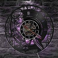 ビニールの壁時計、フクロウの3D壁の装飾の大きな時計、子供の寝室の家の装飾7色のかわいい吊り下げ式LEDクリエイティブ時計