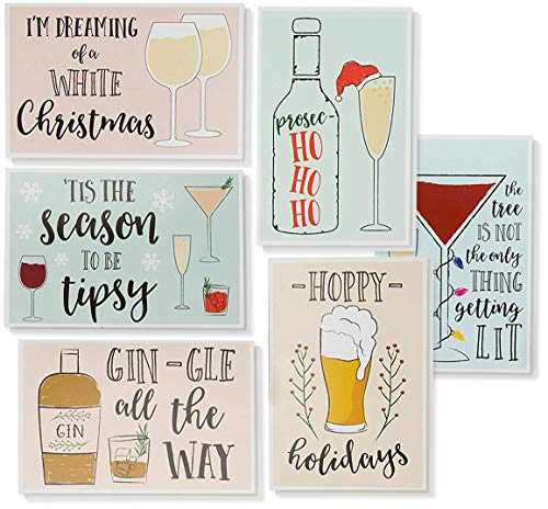 48-Pack Merry Christmas Greeting Cards Bulk Box Set - Holiday Xmas Greeting Cards with 6 Drinking Holiday Funny Pun Designs, Bulk Assorted Festive Winter Holiday Cards with Envelopes, 4 x 6 Inches