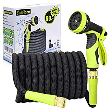 Sunflora 50 ft Expandable Garden Hose Bonus 10 feet with Solid Brass Fittings and 9 Patterns Spray Nozzle Flexible No Kink Water Hoses for Lawn Total 60 Feet