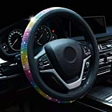 Alusbell Crystal Steering Wheel Cover Colorful Bling Bling Rhinestones Steering Wheel Covers with PU Leather for Women Universal Fit 15 Inch Colorful