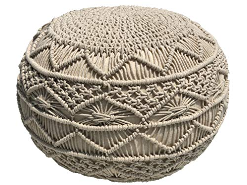 Pouf Ottoman Hand Knitted Cable Style Dori Pouf - Macramé Pouf - Floor Ottoman - 100% Cotton Braid Cord - Handmade & Hand Stitched - Truly one of a...