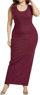 MK988 Womens U-Neck Sexy Sleeveless Solid Color Rib-Knit Bodycon Beach Evening Party Maxi Dress
