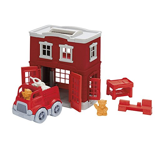 Green Toys Fire Station Playset - 8 Piece Pretend Play, Motor Skills, Language & Communication Kids Role Play Toy. No BPA, phthalates, PVC. Dishwasher Safe, Recycled Plastic, Made in USA.