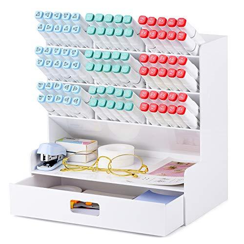 POPRUN Acrílico Organizador de escritorio para lápices,Portalápices,Organizador de bolígrafos,cajitas de almacenamiento,Organizador maquillaje,Utilizado en escuelas, oficinas y aulas (blanco)