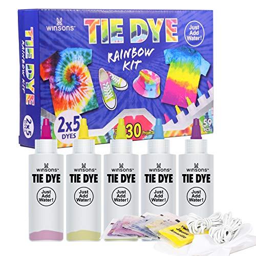WINSONS Tie Dye Kit, 5 Colores de Tinte de Tela Permanente no tóxico Set de Arte para niños Mujeres para la Fiesta casera Actividades de Grupo Creativas Regalo de Bricolaje