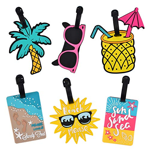 Hvinie Unique Luggage Tags for Women Men, Travel Suitcase Tags Summer Beach Luggage Tags Series Identify Label with Loop 6Pcs