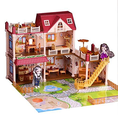 Wohnausstattung Puppenhausmodell Hausmodell Puppenhaus 3D Puzzle Prinzessin Hausspielhaus Spielzeug für Kinder Kindergeburtstagsgeschenke Dekoratives Miniaturpuppenhausmodell (Farbe: Rot Größe: Vie