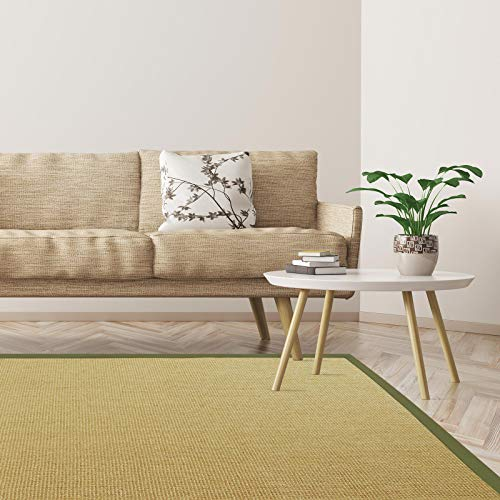 Floordirekt Premium Sisal-Teppich Amazonas | Natur | Mit verschiedenfarbigen Bordüren | 9 Größen | Wohnzimmerteppich, Naturfaserteppich (Pistazie/Taupe, 200 x 290 cm)