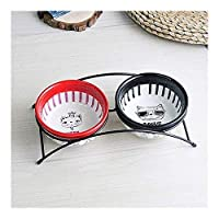 猫食器 セラミックキャットボウル犬鍋は、鉄のダブルボウル上げペットボウルノンスリップポットペット水食品ボウルセラミックペットフィーダー犬鍋を食べさせるフレーム 猫餐具 (Color : B)