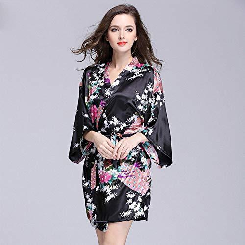 Handaxian Frauen Nachahmung Seide Roben Satin Brautkleid Robe große Blumen Bademantel Kurze Pyjamas 1 M