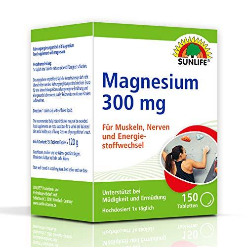 SUNLIFE Magnesium Tabletten 300mg: für starke Muskeln, Nerven & Knochen Nahrungsergänzungsmittel, 150 Tbl.