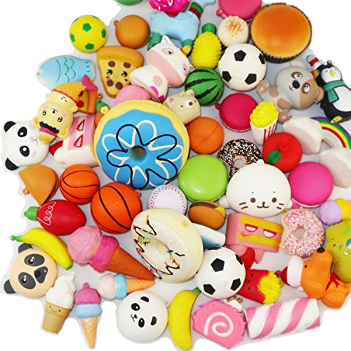 20pcs Kawaii Squishies Sets Soft Slow Rising (1pc Jumbo + 19pcs Medium/Mini Size) Random Cake Bread Panda Bun Animals Cartoon Series with Phone Straps Squishy Kids Play Toys Charms