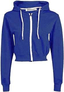 New Womens Hooded Zip Up Crop Hoodie Plain Fleece Jacket Sweatshirt Jumper Top