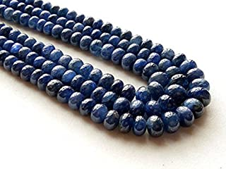 JP_Beads 1 Strand Natural Blue Sapphire Beads, Sapphire Plain Rondelle Beads, Sapphire Necklace, 6mm-7mm, 9 inch