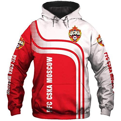SYPT Unisex Hoodies Pullover PFC CSKA Moscow Fußball Beiläufige Sweatshirt Langarm-Baseballuniformjacke XXL