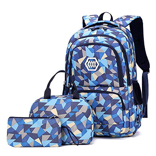 VBG VBIGER Carvas Backpack for Boys & Girls School Bags Polka Dot Backpack 3pcs Kids Book Bags Lunch Bags Purse (Blue)