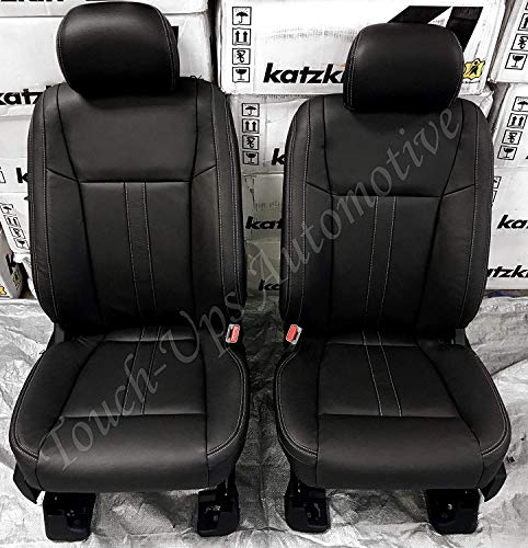 Katzkin Leather Seat Covers Compatible with 2015-2020 Ford F-150 SuperCAB XLT Black Lariat Design