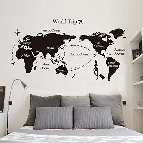 Vinilo Decorativo para Pared Six Continents World Map Travel