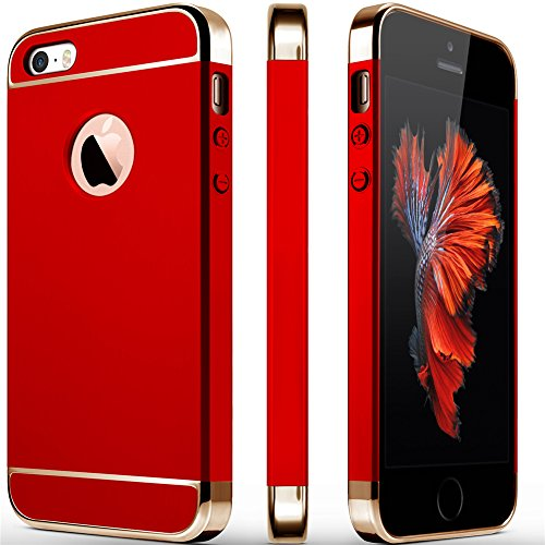 iPhone 5S Case, iPhone 5 Case, iPhone SE Case, COOLQO 3in1 Ultra-Thin Hard Matte Finish Plastic [Tempered Glass Screen Protector] Shockproof Electroplate Cover Skin for Apple iPhone 5SE (Red)