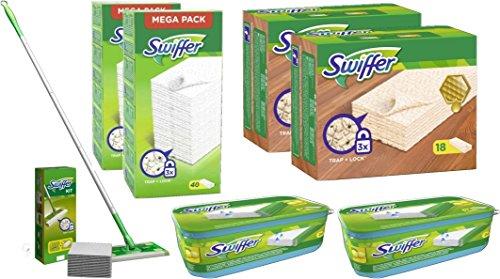 Swiffer Mega- Set - Bodenwischer + Bodentücher + Tücher Holz & Laminat + Wet