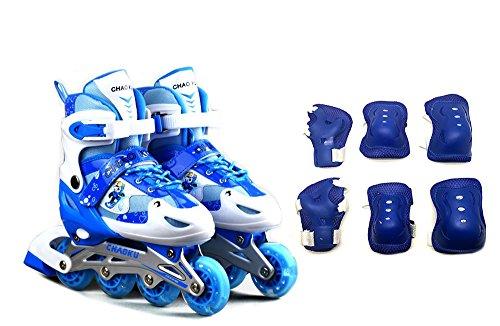 Tante Tina Kinderinliner größenverstellbar mit Schutzset - Inlineskates für Kinder verstellbar in 4 Größen - Blau - Größe L (39-42)