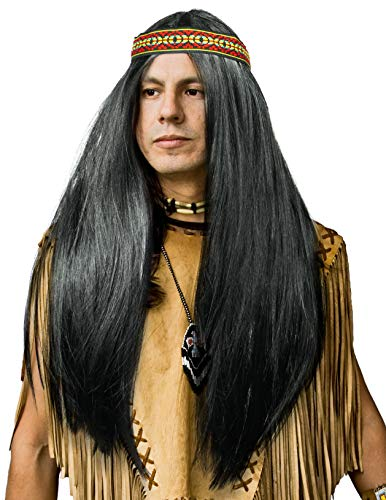 Balinco Indianer Perücke mit glatten Langen Haaren im Set in schwarz mit passendem Kopfband für Herren & Damen Fasching Karneval