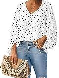 Style Dome Camisas para Mujer Verano Camiseta Manga Larga Blusa de Gasa con Escote en V Estampado Lunares Moda Tops Mujer Fiesta Blanco L