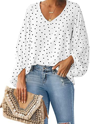 Style Dome Camisas para Mujer Verano Camiseta Manga Larga Blusa de Gasa con Escote en V Estampado Lunares Moda Tops Mujer Fiesta Blanco XL