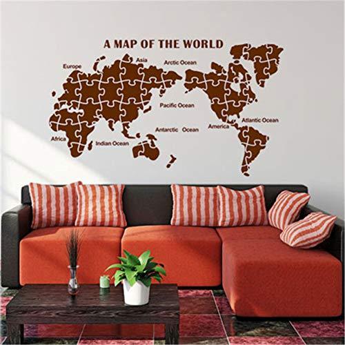 FDCVF Muursticker, hal, muursticker, wereldkaart, plakfolie, PVC, materiaal doe-het-zelf, muurschildering verwijderbaar, sofa-achtergrond voor huis, woonkamer, decoratie, bruin, L