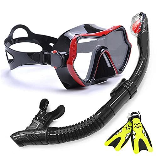 Conjunto de Snorkel con Aleta de Máscara para el Paquete de Snorkel para Adultos, Máscara de Snorkel Panorámica Snorkel Dry Top Kit de Aletas de Buceo Ajustables para Buceo Natación