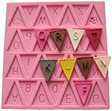 Vivin Bunting Alphabet Letter Flag Silicone Decorating Chocolate Cake Mould Fondant Baking - Pink 4