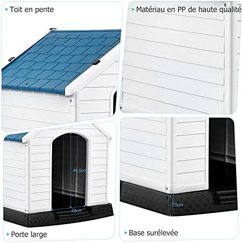 GOPLUS Niche pour Chien en Plastique avec Trous de Ventilation et Plancher Surélevé, Maison pour Chien avec Toit Étanche, pour Utilisation Intérieure et Extérieure, Bleu et Blanc (S)