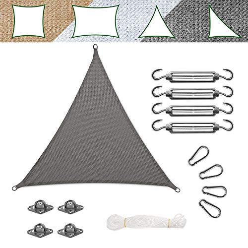 casa pura Voile d'Ombrage - Toile + Kit de Fixation Inclus   Voile d'Ombrage Triangulaire Résistante UV   Toile Tendue en 9 Tailles   Grise - 5x5x5m + Accroche