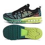 Zapatos para Correr en Montaña y Asfalto Aire Libre y Deportes Zapatillas de Running Padel para Hombre Mujer(EU 35,Azul Negro)