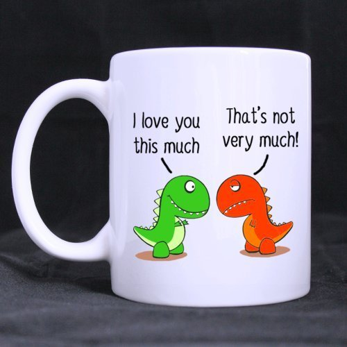 Funny Christmas Gifts For Boyfriend.I Love You This Much Cute Green Dinosaur Gift For Boyfriend Girlfriend Funny White Mug 11oz Coffee Mugs Or Tea Cup Cool Birthday Christmas Gifts For