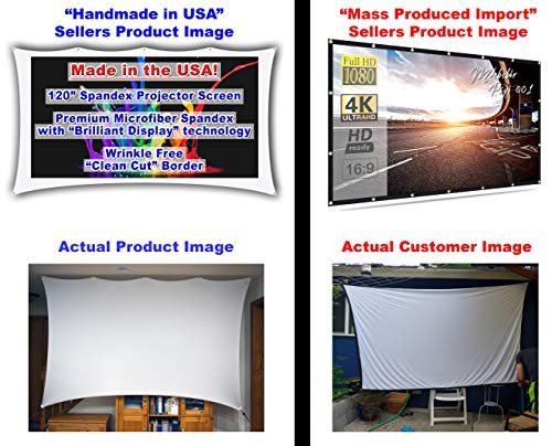 120� inch Portable Spandex Projector Screen. Complete Kit Includes 5�x9� Stretch Fabric Material & Hardware for Indoor or Outdoor Back Yard Movie Screen use. 3D DLP Ready with Both Front & Rear Projection Capability (unlike Blackout Cloth) Photo #8