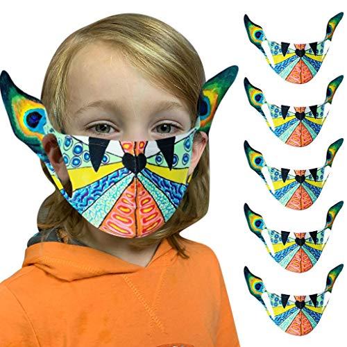 PPangUDing Halloween Mundschutz Kinder Waschbar Wiederverwendbar Baumwolle Atmungsaktive Staubdicht Multifunktional Halstuch Bandana für Jungen und Mädchen
