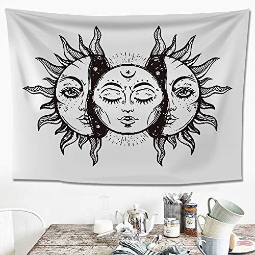 xkjymx Schwarz-Weiß-Linien Yamagata Wanddekoration Tapisserie Wohnzimmer Schlafzimmer Hintergrund Tuch Tischdecke Plane Schwarz-Weiß-Sonne - horizontale Version 200x148 Plus Samt dicken Abschnitt