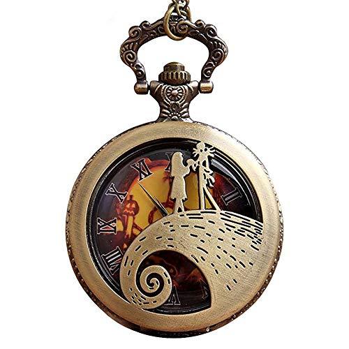 WYZQ Pesadilla Antes de Navidad Vintage Reloj de Bolsillo de Cuarzo Cadena Stuhrling mecánico Retro Reloj de Bolsillo Frontal Regalo para Hombres