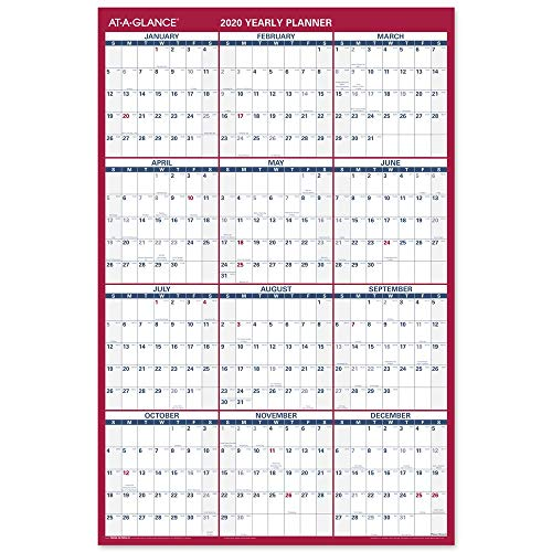 """2020 Large Erasable Wall Calendar, AT-A-GLANCE Dry Erase Planner, 36"""" x 24"""", Double Sided, Vertical/Horizontal, Blue/Red (PM2628)"""